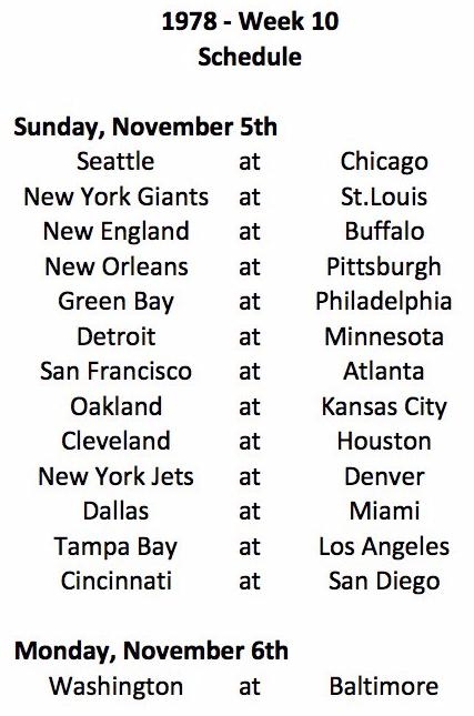 1978 NFL Week 10 Schedule