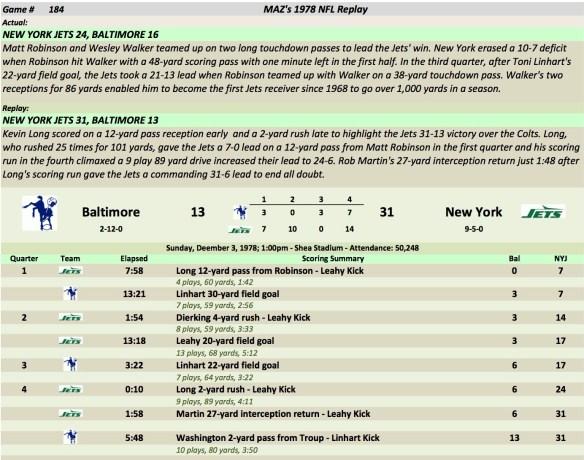 Game 184 Bal at NYJ