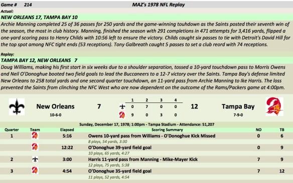 Game 214 NO at TB