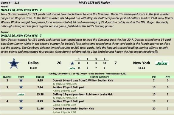 Game 215 Dal at NYJ