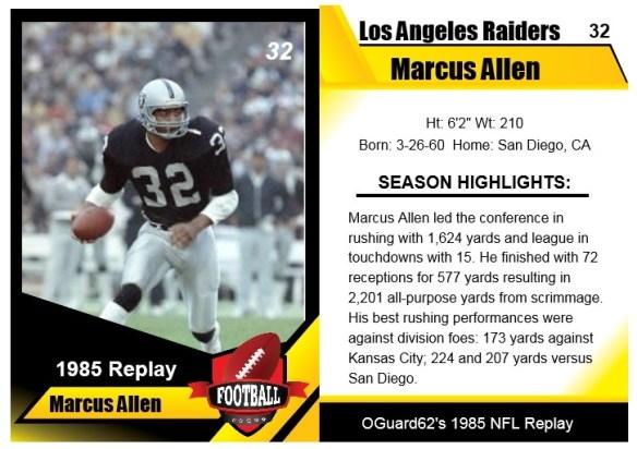 1985 Marcus Allen Card