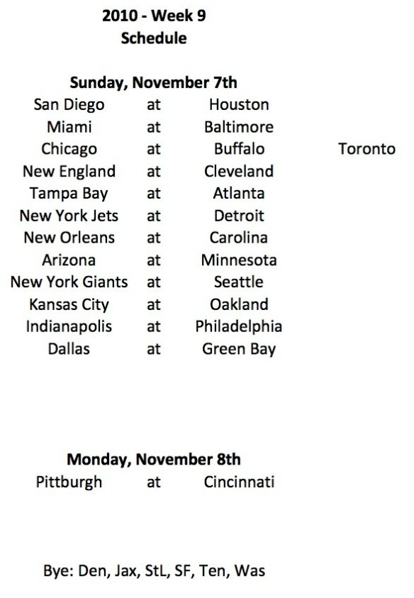 2010 Week 9 Schedule