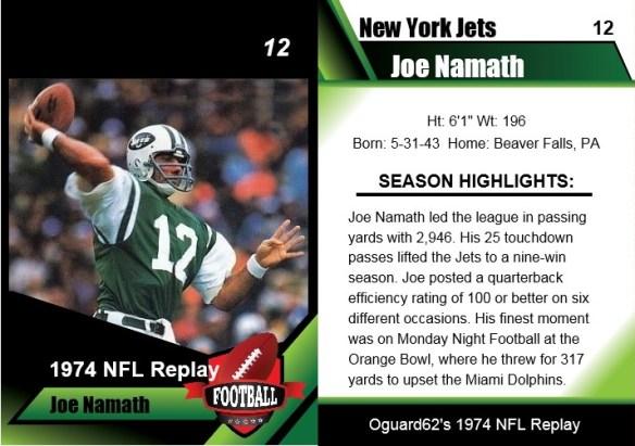1974 - Joe Namath Card