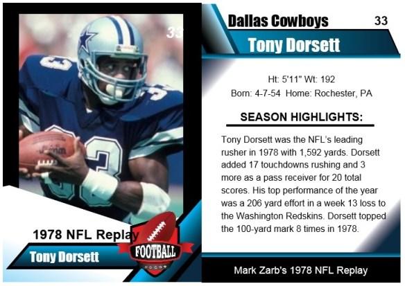 1978 - Tony Dorsett Card