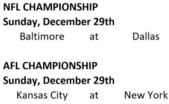 AFL-NFL Championship Schedule