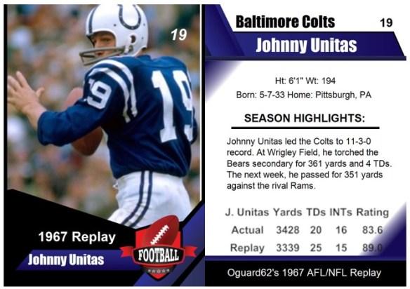 1967 - Johnny Unitas Card