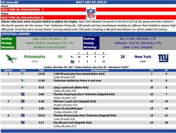 NFL Game #85 Phi at NY