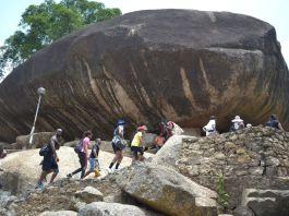 Tourist going up Olumo rock, Abeokuta, Ogun State