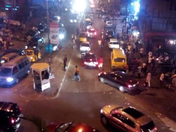 A Lagos street at night