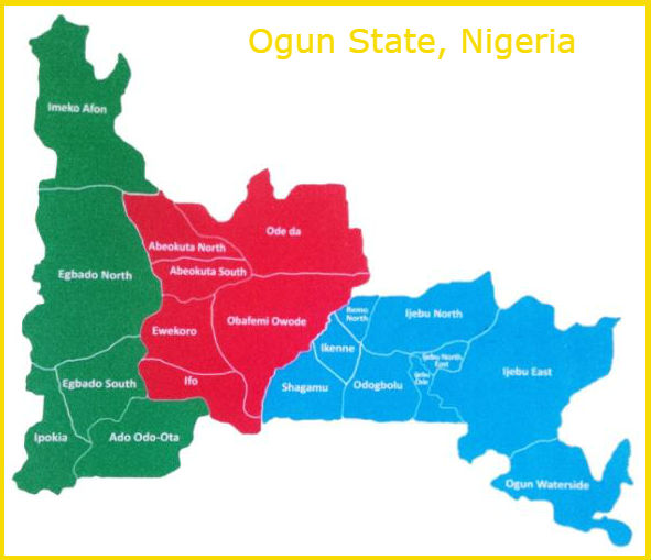 Map Ogun State, the Gateway State