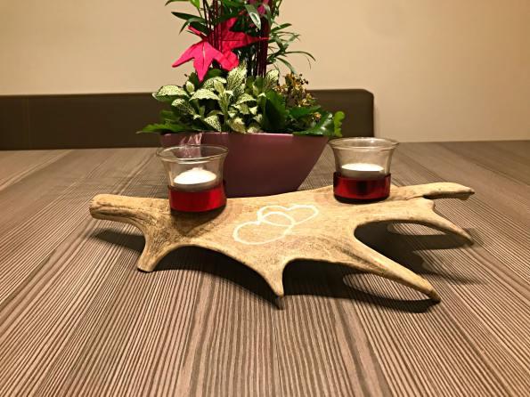 Teelichthalter mit Gravur rot