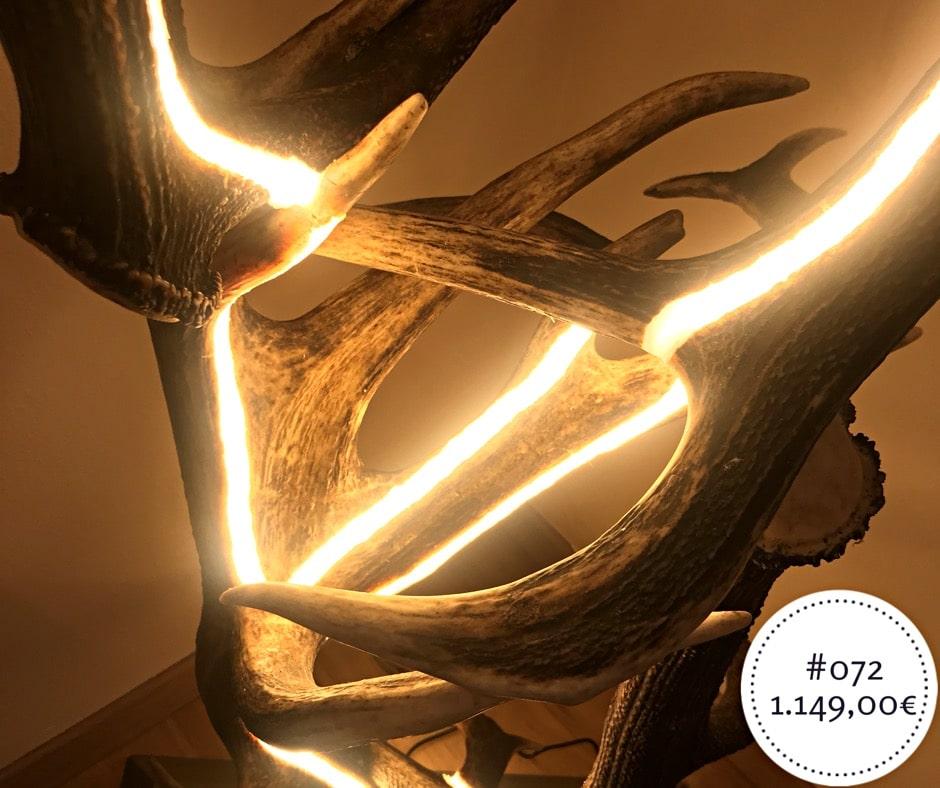 Kronleuchter Led Edelstahl ~ Design stehlampe aus geweih und indirekter led beleuchtung von oh