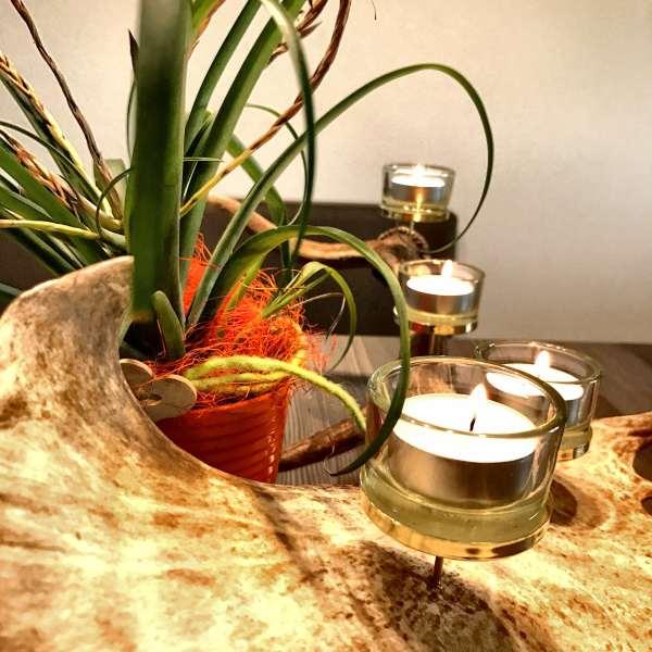 Hirschgeweih Deko Kerzenhalter mit vier Teelichtern, johannes forkl, oh my deer