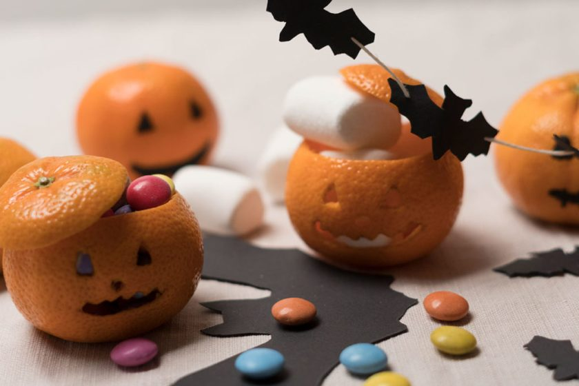 Halloween DIY Mandarinenkürbis