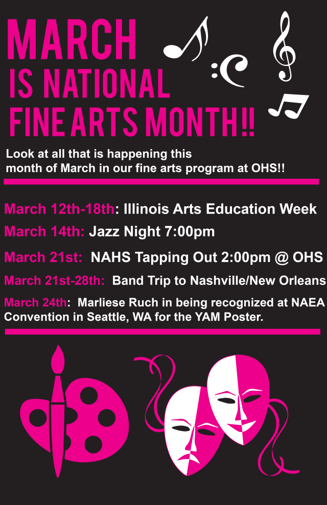 Infographic of Fine Arts Month events at Oswego High School
