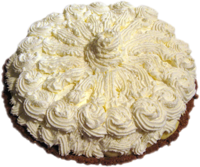 Whipped cream topped pie