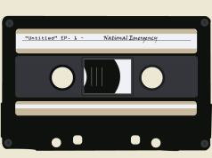 Cassett tape graphic. Text: Untitled, Ep. 1, National Emergency