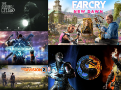 Logos for upcoming video games: The Sinking City, Farcry New Dawn, Crackdown 3, The Division 2, Mortal Combat 11