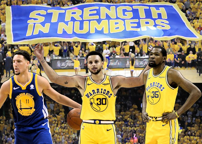 Golden State in the finals. Text: Strength in Numbers