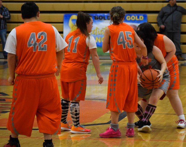 Players from the OHS Special Olympics basketball team.