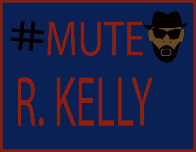 Text: #Mute R. Kelly, with cartoon face of R. Kelly