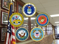 Military honors hallway and logos for military branches