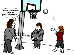 "cartoon of two men in suits cutting down a basketball hoop, saying ""these cuts were exactly what we needed!"""