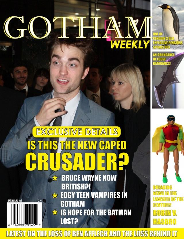 "Satirical magazine cover for ""Gotham Weekly"""