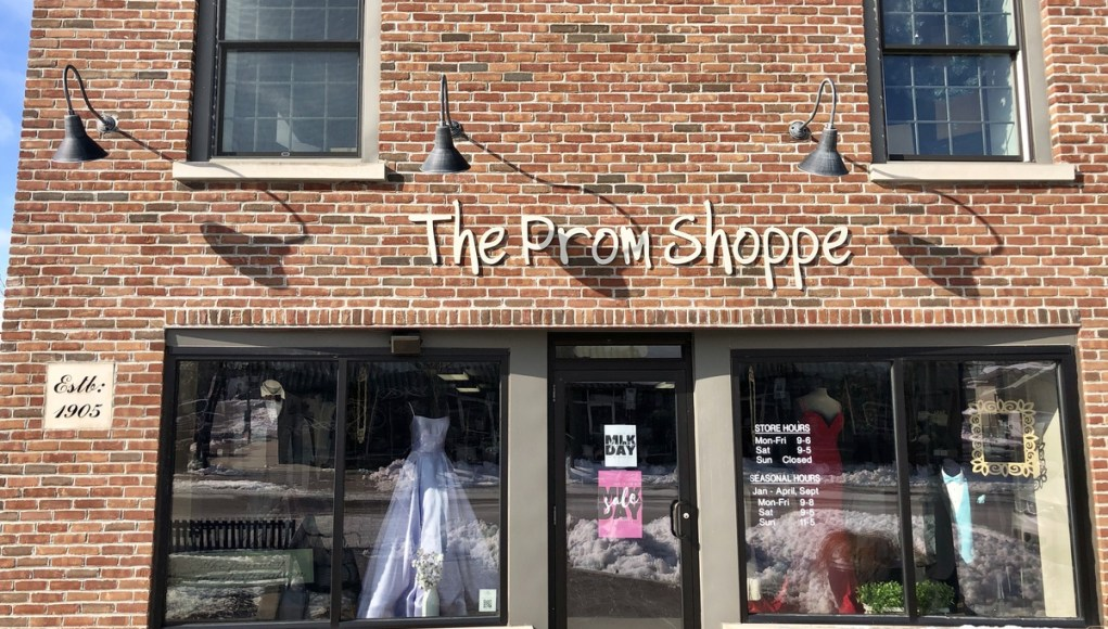 The brick exterior to the Prom Shoppe.
