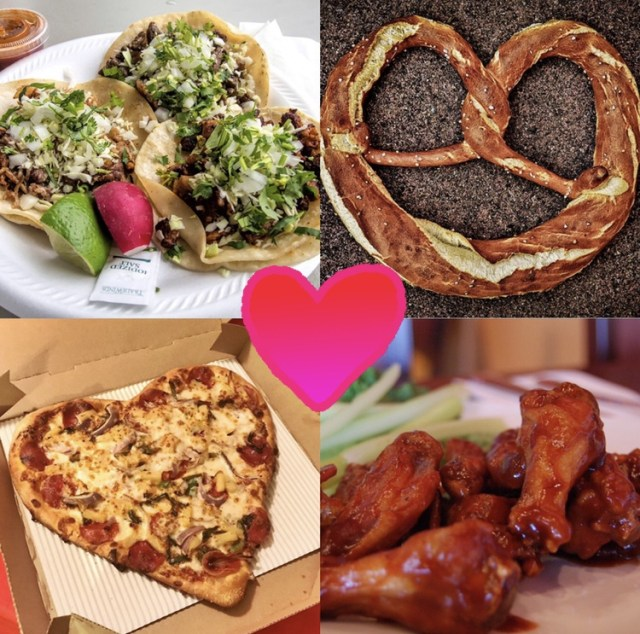 collage showing tacos, a soft pretzel, a heart-shaped pizza, and hot chicken wings