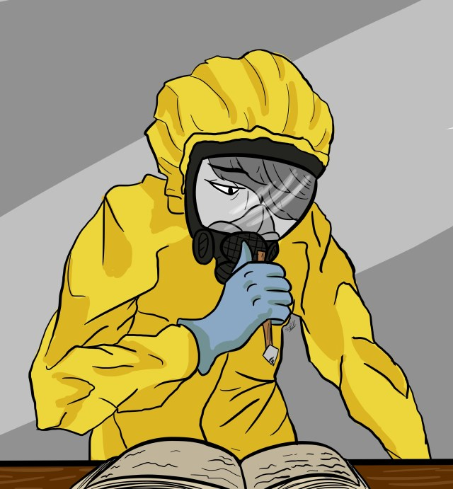 Girl in a hazmat suit writing in a journal
