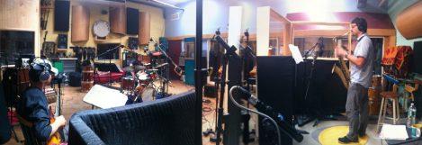 Recording NewsReel 6tet - Brooklyn 2014 Miles Okazaki & Dan Weiss in forefront.