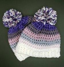 baby beanies made with caron x pantone yarn free pattern