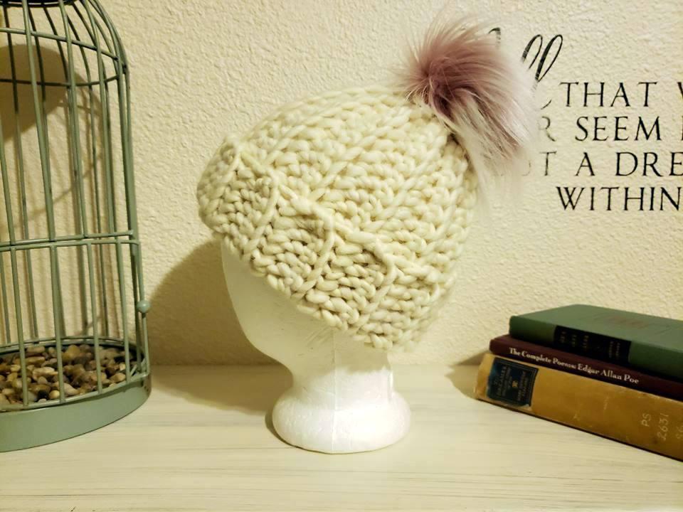 crochet beanie made with cascade yarns merino wool with pink luna lovegood pom pom from rox creations co