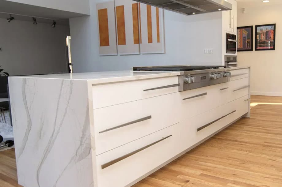 Pros And Cons Of Waterfall Kitchen Countertops O Hanlon Kitchens