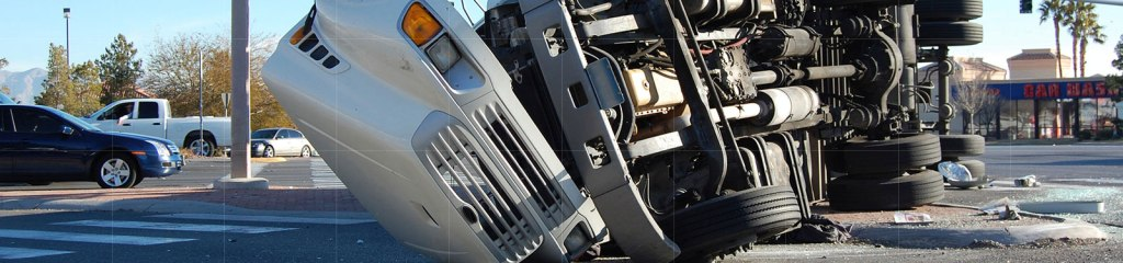 Truck Accidents - Overturned 18 wheeler truck in a truck accident