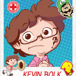 A cartoon drawing of Kevin Bolk, Artist and Guest for Ohayocon 2019