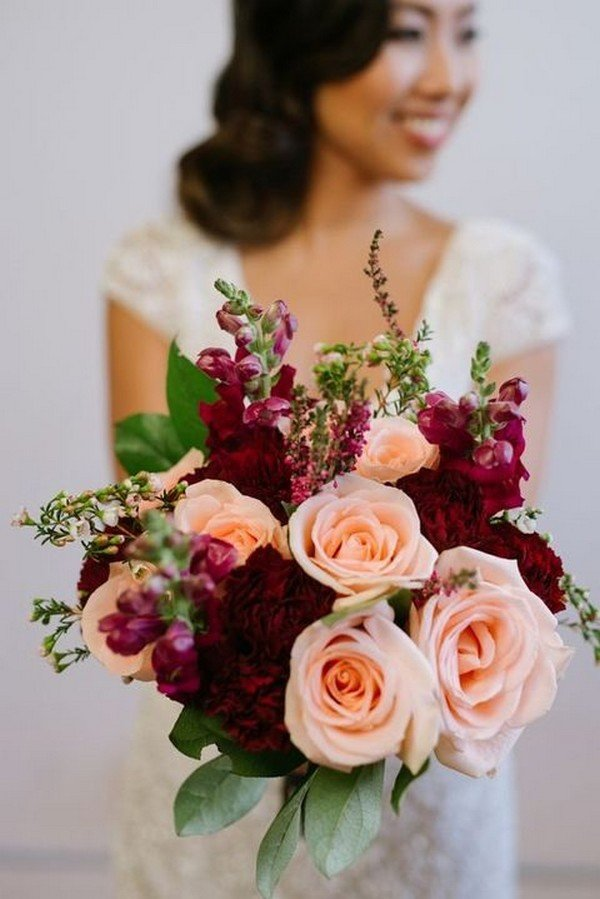 Trending15 Gorgeous Burgundy and Blush Wedding Bouquet Ideas  Page 3 of 3  Oh Best Day Ever
