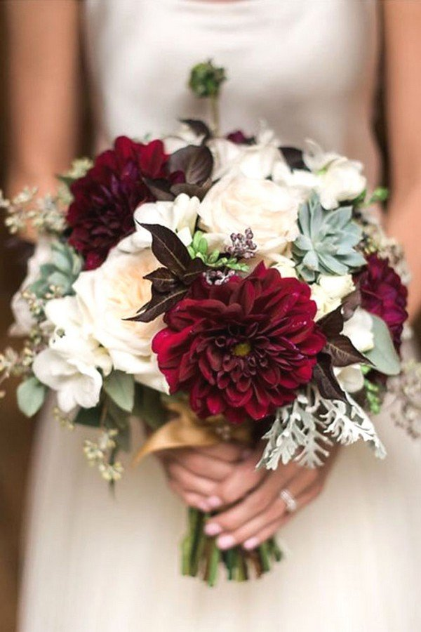 Trending15 Gorgeous Burgundy and Blush Wedding Bouquet
