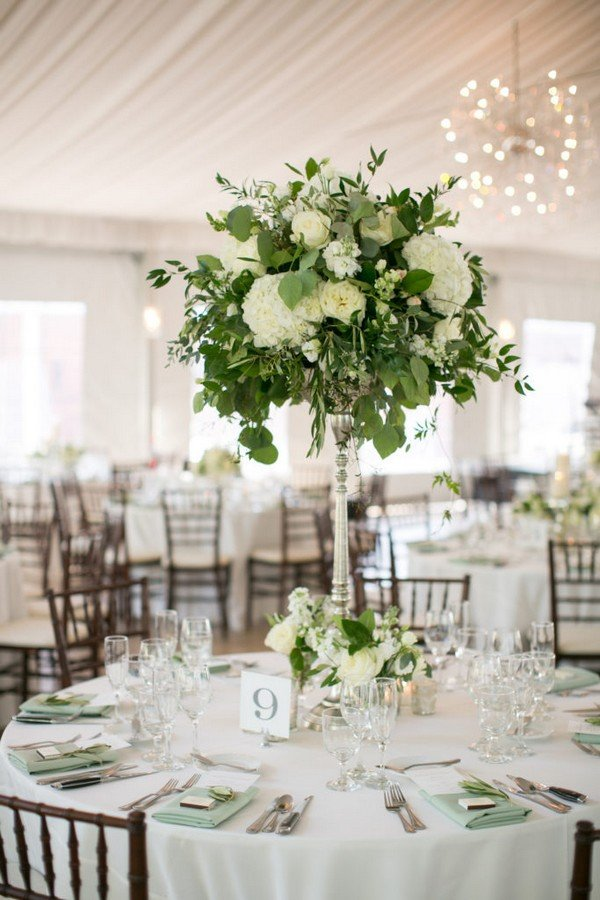 White Green Wedding Centerpieces Candle