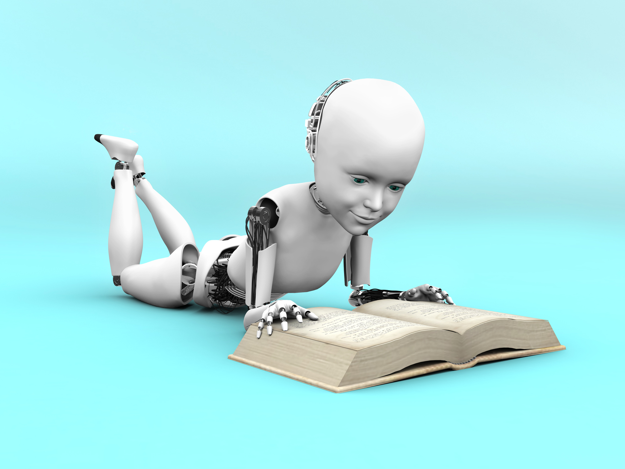 A robot child lying on the floor and reading a book.