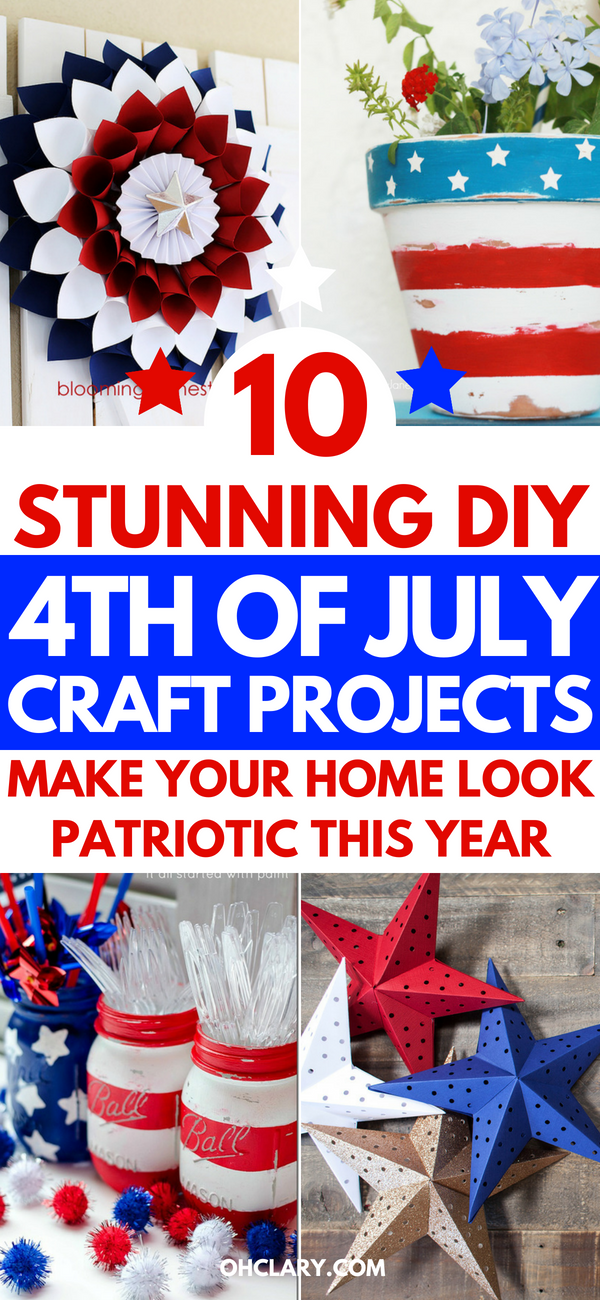 Awesome 4th of July crafts for kids and for toddlers. DIY projects to make this Independence Day for adults. Make these easy decorations to sell or to hang out in your home. Also perfect for preschoolers. Includes patriotic wreath, red white and blue stars and mason jars crafts. #4thofjuly #4thofjulycrafts #4thofjulydecorations #diycrafts #diycraftsforkids