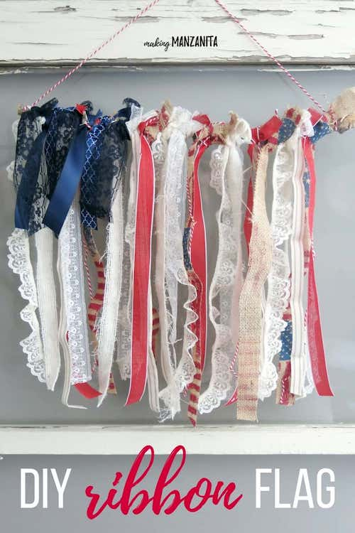 Fourth Of July Ribbon American Flag Hanging- 4th of July Crafts for Toddlers