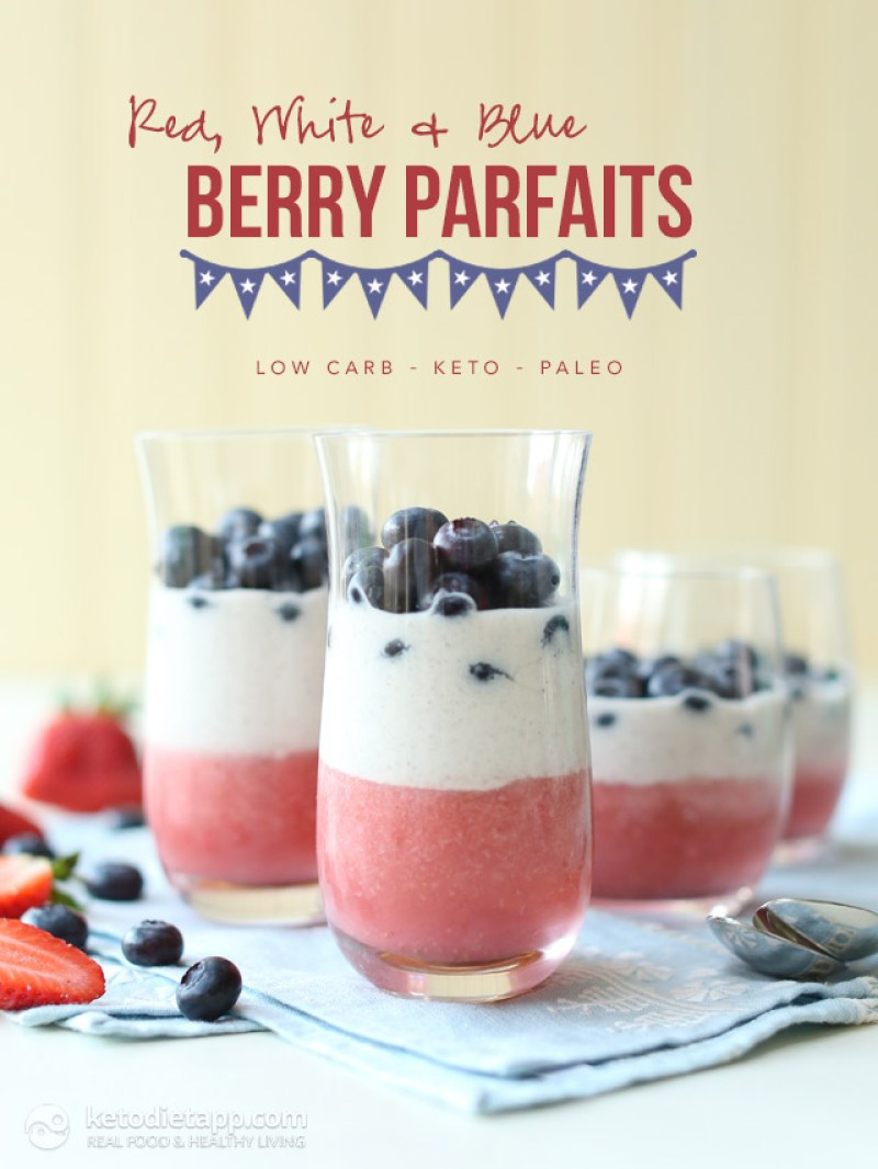 Red, White and Blue Berry Parfaits   Looking for delicious low carb and Keto 4th of July Desserts? I've got the perfect treats for you! These 4th of July Keto desserts recipes are perfect for the celebration and will make sure you stay on track with your ketogenic diet while still enjoying mouthwatering sugar-free and low carb keto desserts. How to have a low carb 4th of July party. #ketodessert #lowcarbdessert #fatbombs #4thofjuly #4thofjulydesserts #4thofjulyrecipes