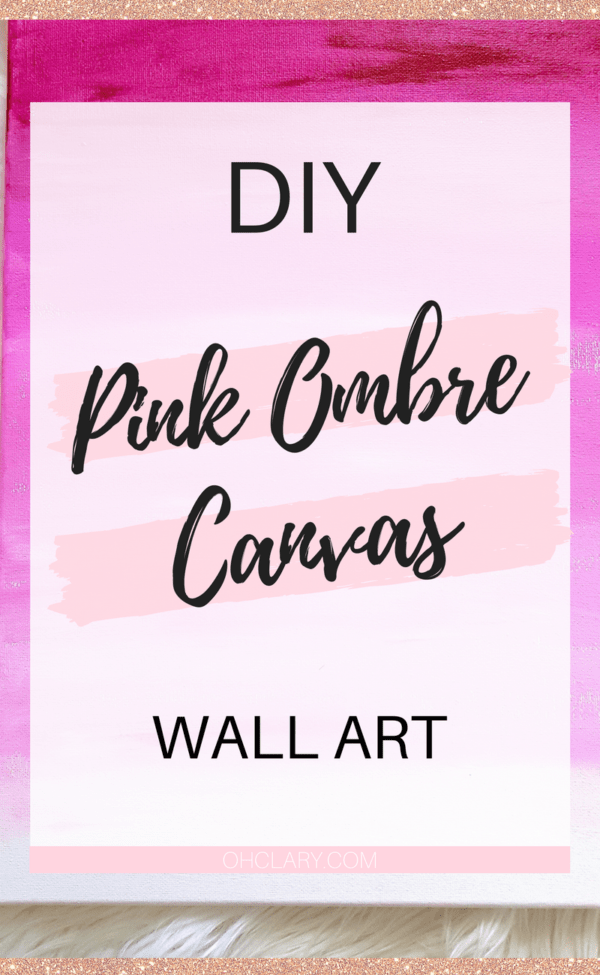 Diy Pink Ombre Wall Art With Gold Glitter
