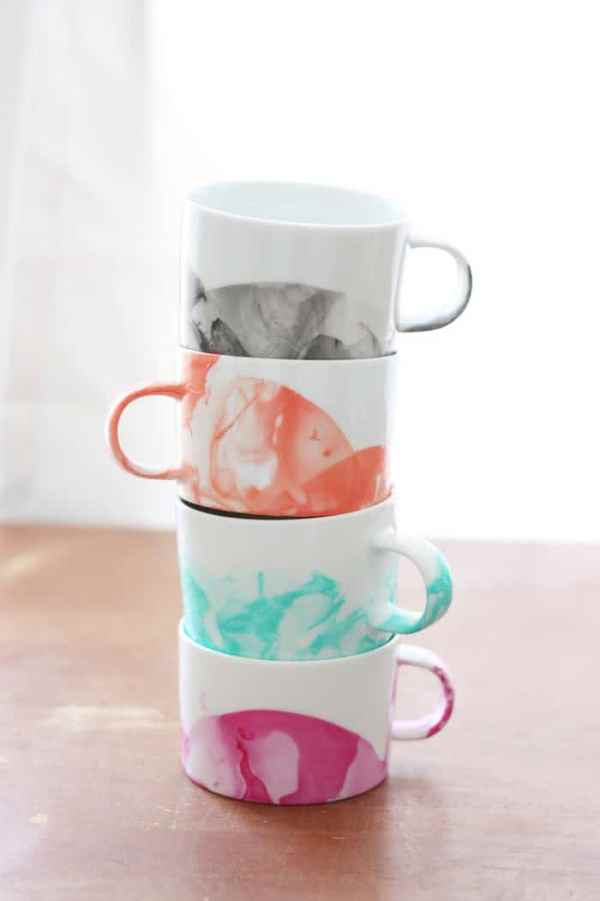 DIY Marbled Mugs With Nail Polish - 10 Easy Crafts For Kids To Make And Sell For Extra Money. I'm so IN LOVE with these AWESOME ideas for DIY projects and handmade items I can make from home and sell at craft fairs or on Etsy. I can make great money from home even as a teen! These best selling crafts will sell out in a minute! Definitely PINNING this for later!