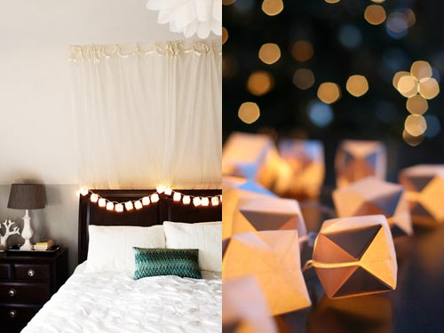 DIY Paper Cube String Lights by Wit& Whistle - 30 Incredible Dollar Store DIY Christmas Decor Ideas. Easy to make decorations that you can do on a small budget. Make beautiful and easy centrepieces, ornaments, candle holders and mason jar crafts. These awesome Dollar Tree DIY Christmas crafts are simple enough to be made with your kids. Just click on this to find out more or pin for later!