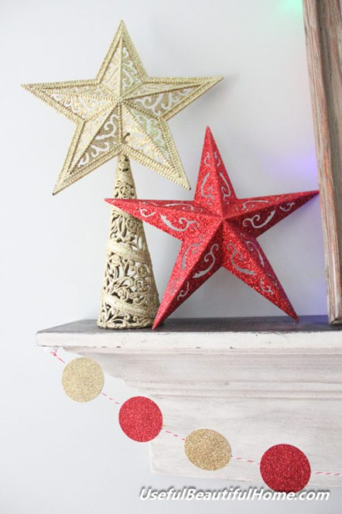 Easy DIY Glitter Stars by Useful Beautiful Home - 30 Incredible Dollar Store DIY Christmas Decor Ideas. Easy to make decorations that you can do on a small budget. Make beautiful and easy centrepieces, ornaments, candle holders and mason jar crafts. These awesome Dollar Tree DIY Christmas crafts are simple enough to be made with your kids. Just click on this to find out more or pin for later!
