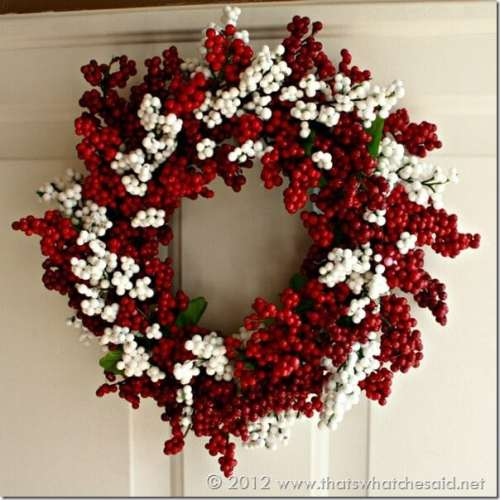 DIY Dollar Store Berry Wreath That's What Che Said - 30 Incredible Dollar Store DIY Christmas Decor Ideas. Easy to make decorations that you can do on a small budget. Make beautiful and easy centrepieces, ornaments, candle holders and mason jar crafts. These awesome Dollar Tree DIY Christmas crafts are simple enough to be made with your kids. Just click on this to find out more or pin for later!