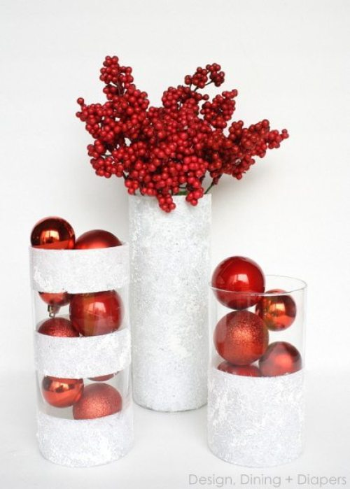 Dollar Store Christmas Winter Vases by Taryn Whiteaker - 30 Incredible Dollar Store DIY Christmas Decor Ideas. Easy to make decorations that you can do on a small budget. Make beautiful and easy centrepieces, ornaments, candle holders and mason jar crafts. These awesome Dollar Tree DIY Christmas crafts are simple enough to be made with your kids. Just click on this to find out more or pin for later!